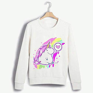 Womens Unicorn Jumper Casual Sweatshirt - White with Pink and Yellow