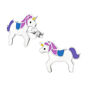 Silver Unicorn Earrings For Girls - Purple