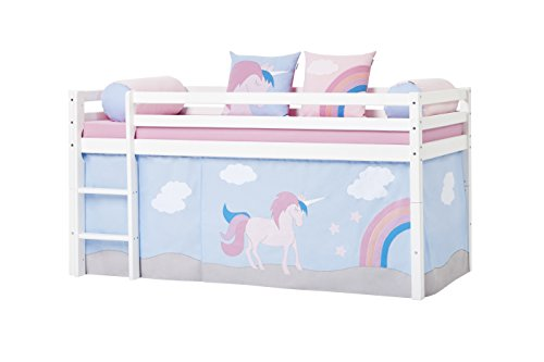 sports shoes 7be71 8072f Hoppekids Unicorn Curtain/Tent Including Wire Rope for Half-High Bed,  Fabric, Blue, 90 x 200 cm, 200x90x72 cm