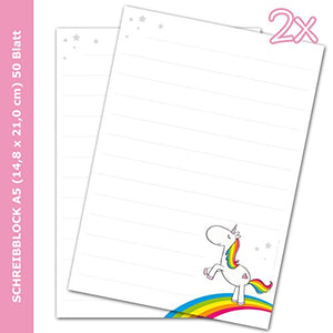 "'Kronenburg Handel GmbH 2 x ""Rainbow Unicorn Mythical DIN A5 Lined Paper (50 Sheets) Writing Pad/Notepad Stationery) {Cam2012/Stationery) {Cam2012/Suitable for Children/Writing Pad"