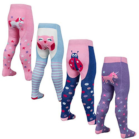 Baby Girls 4 Pack of Tights, Unicorn, Owl, Ladybird