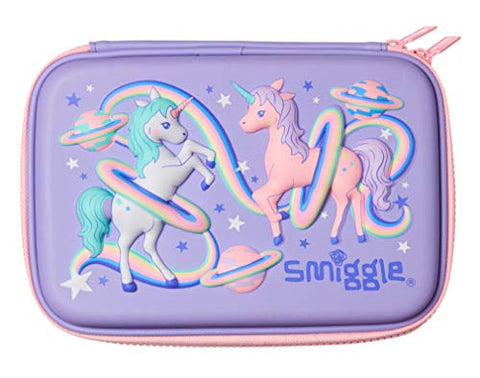 Smiggle Pink & Lilac Unicorns Pencil Case Hardtop Single Compartment - Beyond