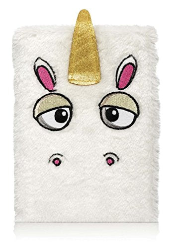 White Furry Fun Unicorn Lined Notebook