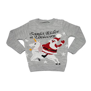 Santa Rides A Unicorn Christmas Jumper | Sweater | Kids