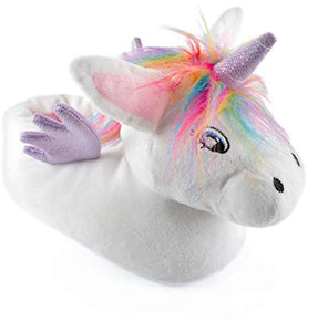 Ladies 3D Unicorn Slipper (UK Ladies 5-6, White/Rainbow)