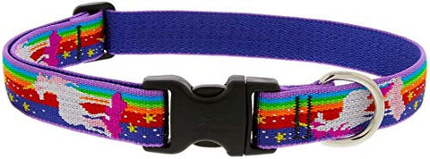 Unicorn Patterned Adjustable Dog Collar | Medium Dogs | 3/4-inch/ 15-25-inch