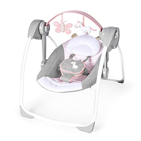 Ingenuity Comfort 2 Go Portable Swing - Flora The Unicorn, 1.85 kg Pink Newborn Upwards