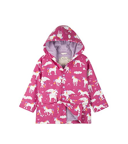 Hatley Girl's Printed Raincoat / Rainmac Pink (Rainbow Unicorns) For Kids