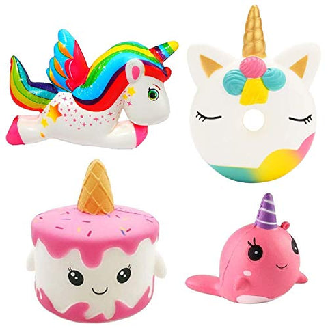 Assorted Pack Of Squishies | Unicorn, Cake, Donut, Narwhal
