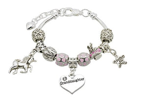 Girl's Unicorn Message Charm Bracelet with Gift Box - 9 Special Messages to Choose from (Granddaughter)