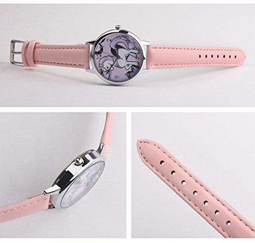 Cute Simple Purple Unicorn Arabic Numerals Leather Strap Quartz Women Girl Children Wristwatch, Pink