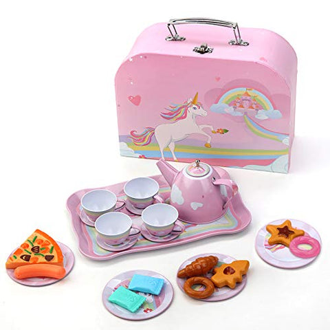 Unicorn Tea Set | 24 Pieces | Pink Metal | Children's Toy | Gift Idea