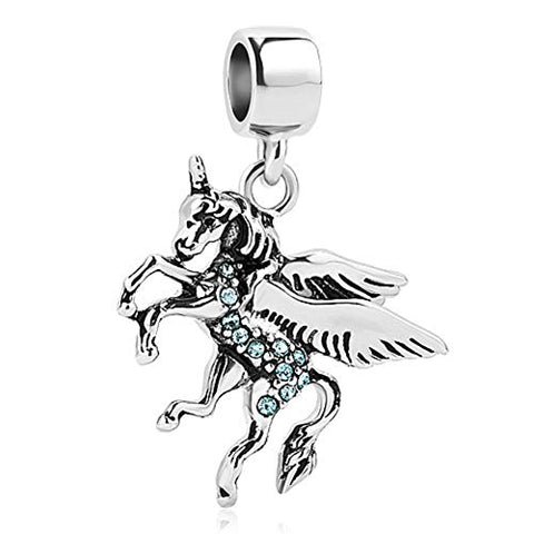 Blue Crystal Unicorn Charm Beads For Charm Necklace Or Bracelet | UNIQUEEN