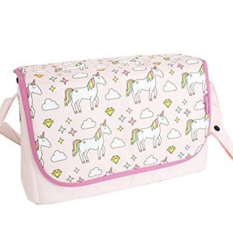 Pink unicorn print design theme baby changing change bag clouds