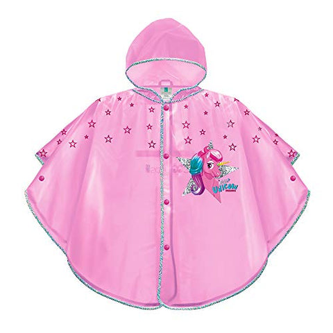 Unicorn & Stars Pink Raincoat for Kids - Waterproof Windproof Rain Poncho