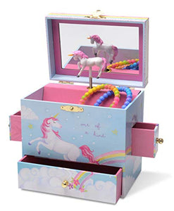 Blue Unicorn Jewellery Box with 3 Drawers, Rainbow Unicorn Design, Musical Tune