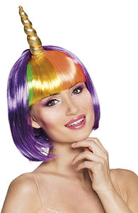 Unicorn Wig with Horn | Bobbed Hairstyle | Multicoloured
