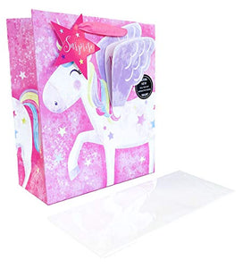 Unicorn Gift Bag Medium | Pink | Girls Birthday Kids Present Wrap