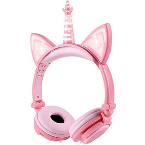 Unicorn Kids Headphones | Over Ear with LED Glowing Cat Ears | Pink