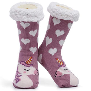 Unicorn Slipper Socks Pink With White Hearts