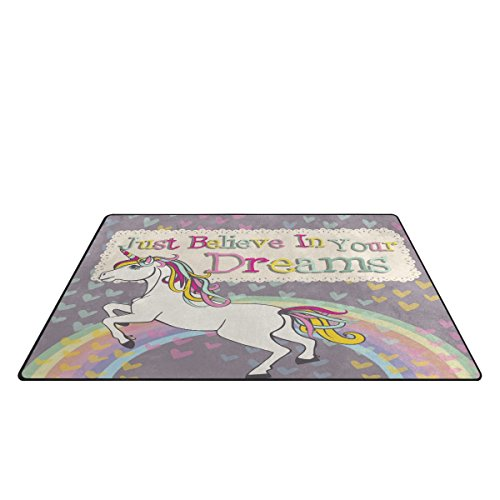 "BENNIGIRY Unicorn Area Rug Carpet 1'7"" x 2'6"", Vogue Modern Floor Rugs Mat for Office Home Living Dining Room Decoration"
