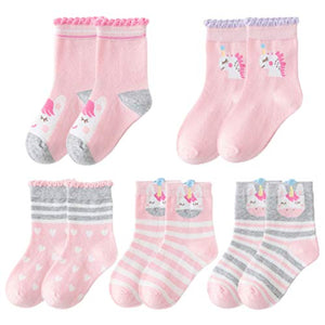 Girls 5 Pack Unicorn Design Socks | Pink & Grey