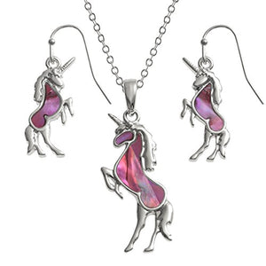 Unicorn Necklace and Earrings Matching Set | Precious Stones