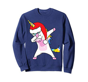 Dabbing Christmas Unicorn Sweatshirt, Jumper | Navy