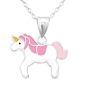 Silver Unicorn Necklace Pink