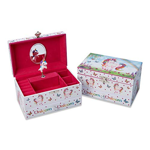 Unicorn Jewellery Box red insert compartments for jewellery and accessories