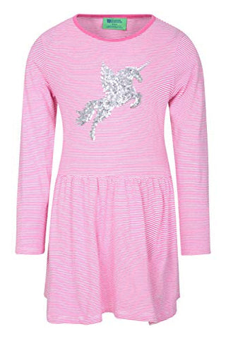 Kids Sequinned Unicorn Dress | Pink & Silver | Long Sleeved | Mountain Warehouse