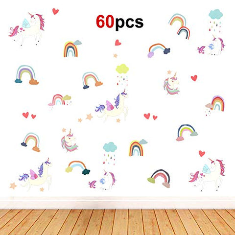 Unicorn Wall Sticker Removable Vinyl Peel and Stick Wall Decal | 60 Pieces