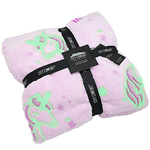 Glow in the Dark Unicorn Blanket | Super Soft Fleece | Purple | Gift Idea
