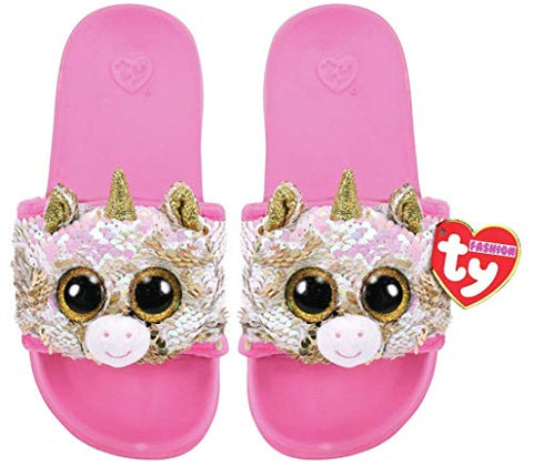 Unicorn Sliders Kids TY Pink Gold