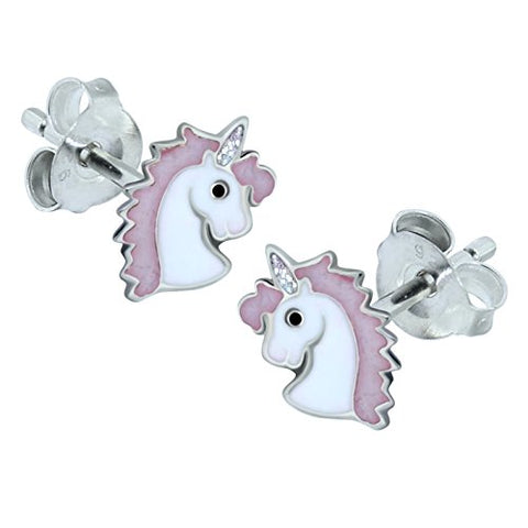 Pink Unicorn Earrings - Sterling Silver