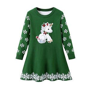Girls Unicorn Christmas Dress | Knitted Xmas Snowflake Jumper Sweater Dress | Green