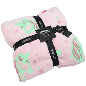 Pink Blanket | Glow in the Dark Blanket With Stars and Unicorn | Soft Fleece