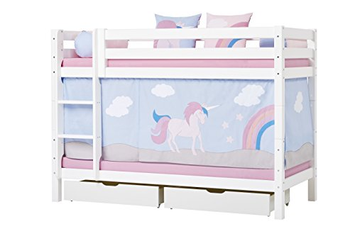 Hoppekids Unicorn Curtain/Tent Including Wire Rope for Half-High Bed, Fabric, Blue, 90 x 200 cm, 200x90x72 cm