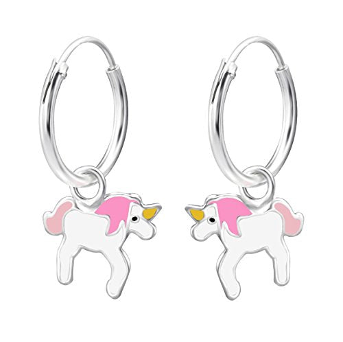unicorn hoop earrings - silver pink