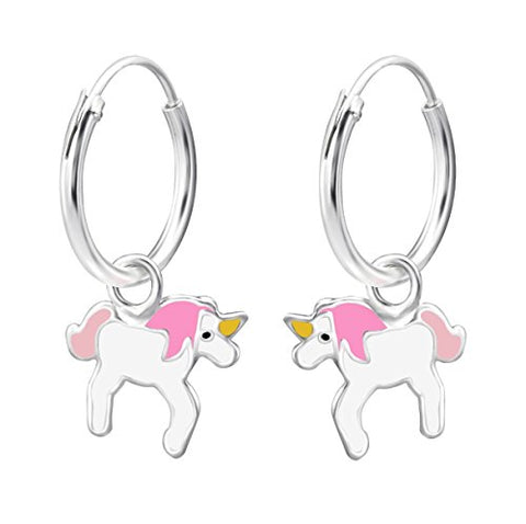 Small Pink Unicorn Hoop Earrings - Sterling Silver