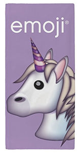 emoji unicorn beach, swimming towel for kids. Lilac design