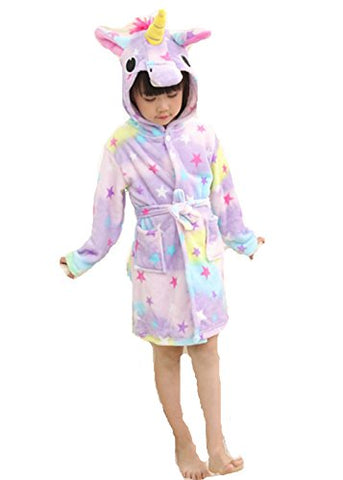 Kids Unicorn Star Bathrobe Dressing Gown
