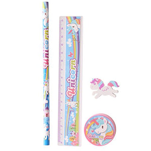 CUTE UNICORN FOUR PIECE STATIONERY SET (SET COMPRISES OF 1 X PENCIL, 1X RULER, 1X ERASER AND 1X SHARPENER