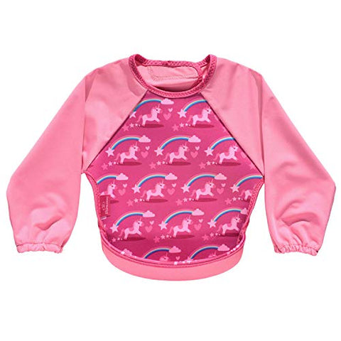 Long Sleeved Unicorn Food Catcher Bib Pink Girls