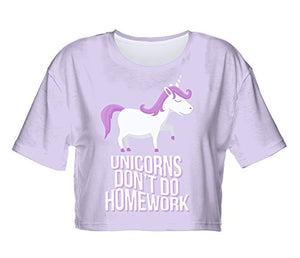Fringoo ® Women's Girls Teenagers Crop Top Summer Short Sleeve T-shirt Cropped Party Shirt Festival Holiday Top 8 / 10 / 12 / 14 (8 / 10 / 12, Unicorns Dont Do Homework - Tee)