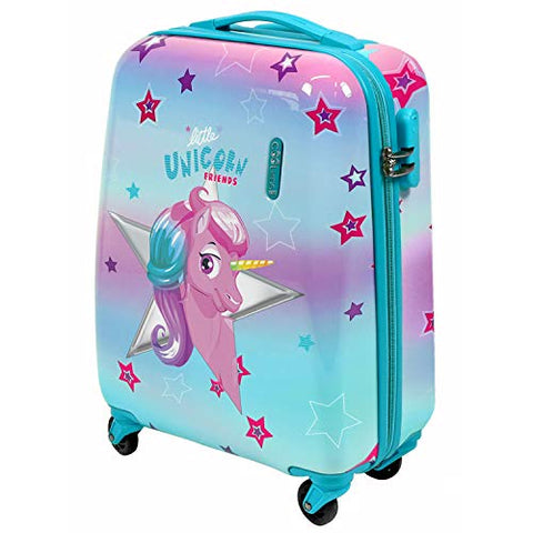 Unicorn & Stars Children's Luggage - Hard Shell Suitcase - Travel Bag 49x34x21 cm