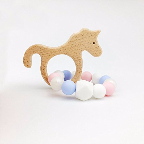 baby tete Beech Wooden Unicorn Baby Teether Toys-Bracelet For Baby