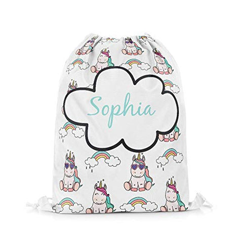 Personalised Name Unicorn Drawstring Bag | Swim PE School Sports Bag
