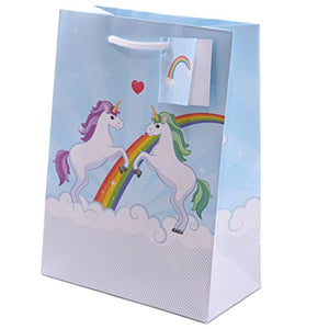 Rainbow Unicorn Blue Gift Bag Size 17 x 9 x 23cm