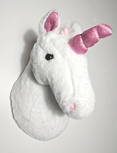 Soft plush unicorn wall mounted head. Wall decor, children's bedroom, nursery. White with pink ears and pink horn.